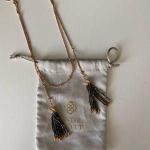 Kendra Scott RoseGold and Gunmetal Tassel Necklace